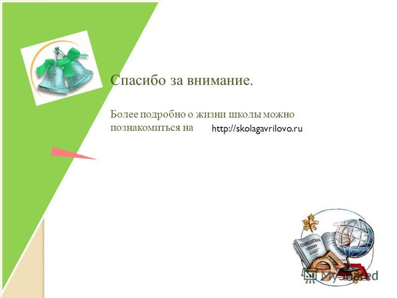 http://skolagavrilovo.ru Спасибо за внимание. Более подробно о жизни школы можно познакомиться на