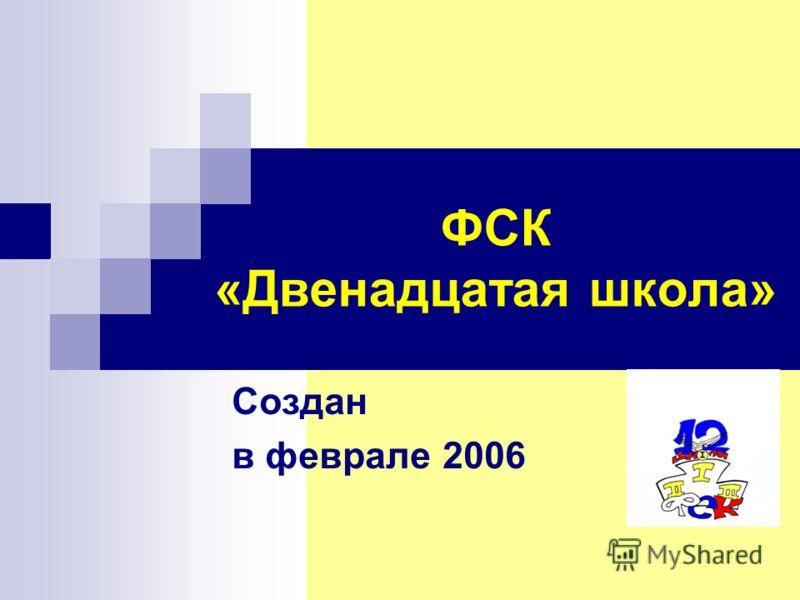 ФСК «Двенадцатая школа» Создан в феврале 2006