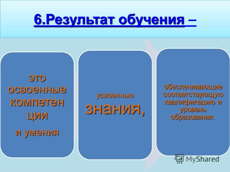 6.Результат обучения 6.Результат обучения –