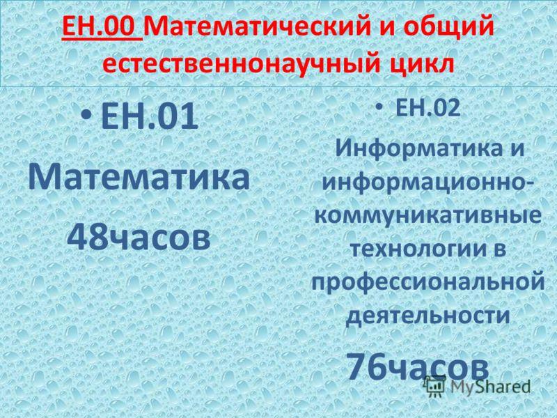 ЕН.00 Математический и общий естественнонаучный цикл ЕН.01 Математика 48часов ЕН.02 Информатика и информационно- коммуникативные технологии в профессиональной деятельности 76часов