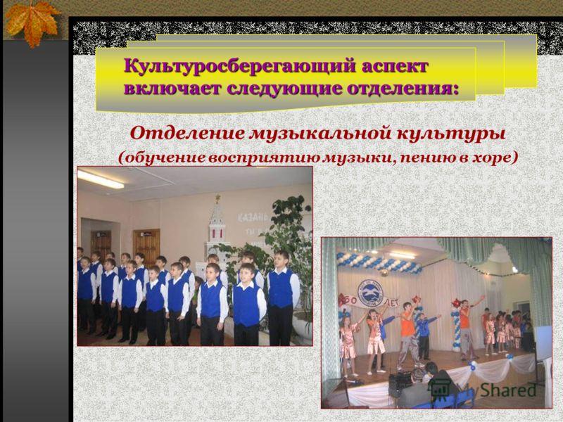 Культуросберегающий аспект включает следующие отделения: Отделение музыкальной культуры (обучение восприятию музыки, пению в хоре)
