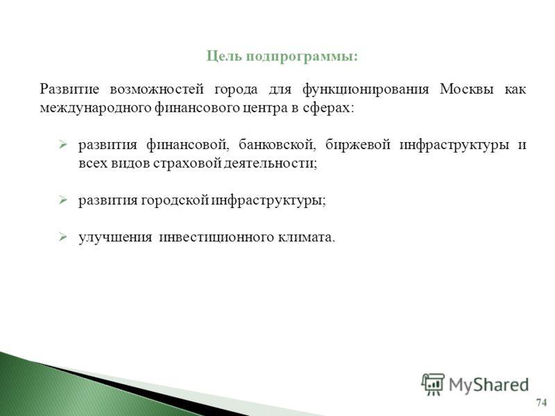 Цель подпрограммы: Развитие возможностей города для функционирования Москвы как международного финансового центра в сферах: развития финансовой, банковской, биржевой инфраструктуры и всех видов страховой деятельности; развития городской инфраструктур