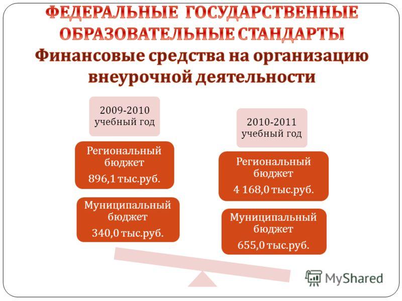2009-2010 учебный год 2010-2011 учебный год Муниципальный бюджет 655,0 тыс. руб. Региональный бюджет 4 168,0 тыс. руб. Муниципальный бюджет 340,0 тыс. руб. Региональный бюджет 896,1 тыс. руб.