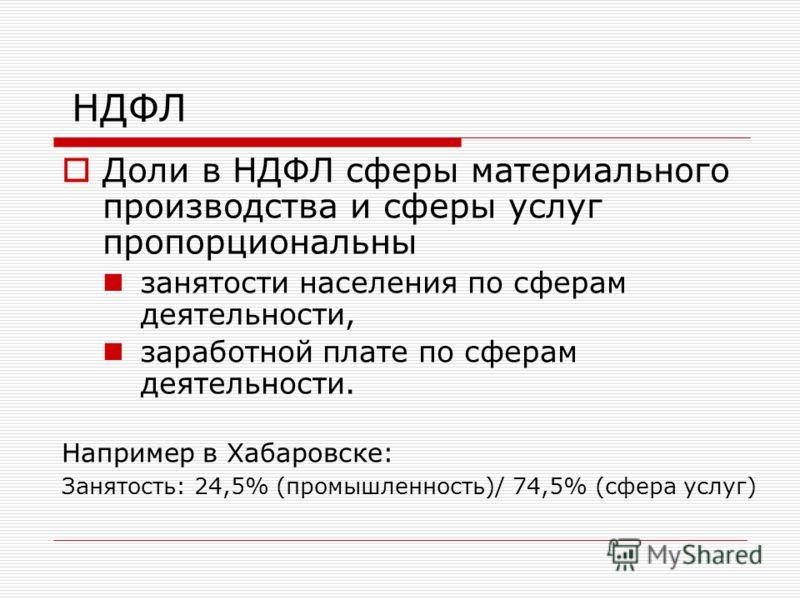 НДФЛ Доли в НДФЛ сферы материального производства и сферы услуг пропорциональны занятости населения по сферам деятельности, заработной плате по сферам деятельности. Например в Хабаровске: Занятость: 24,5% (промышленность)/ 74,5% (сфера услуг)