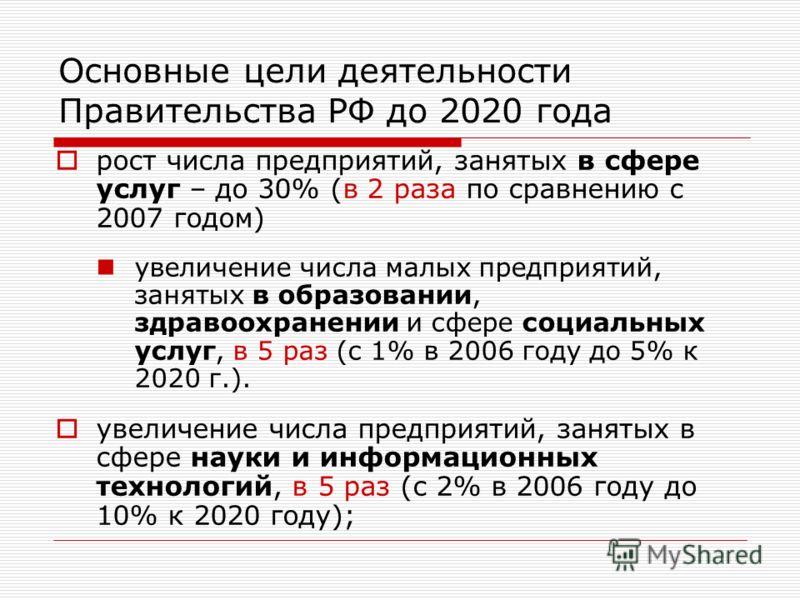 Основные цели деятельности Правительства РФ до 2020 года рост числа предприятий, занятых в сфере услуг – до 30% (в 2 раза по сравнению с 2007 годом) увеличение числа малых предприятий, занятых в образовании, здравоохранении и сфере социальных услуг,