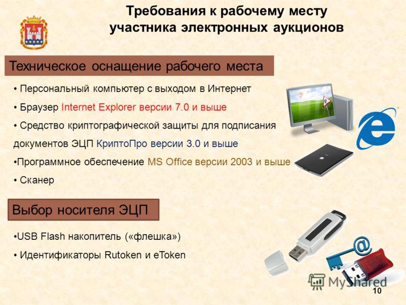 10 Требования к рабочему месту участника электронных аукционов Техническое оснащение рабочего места Персональный компьютер с выходом в Интернет Браузер Internet Explorer версии 7.0 и выше Средство криптографической защиты для подписания документов ЭЦ