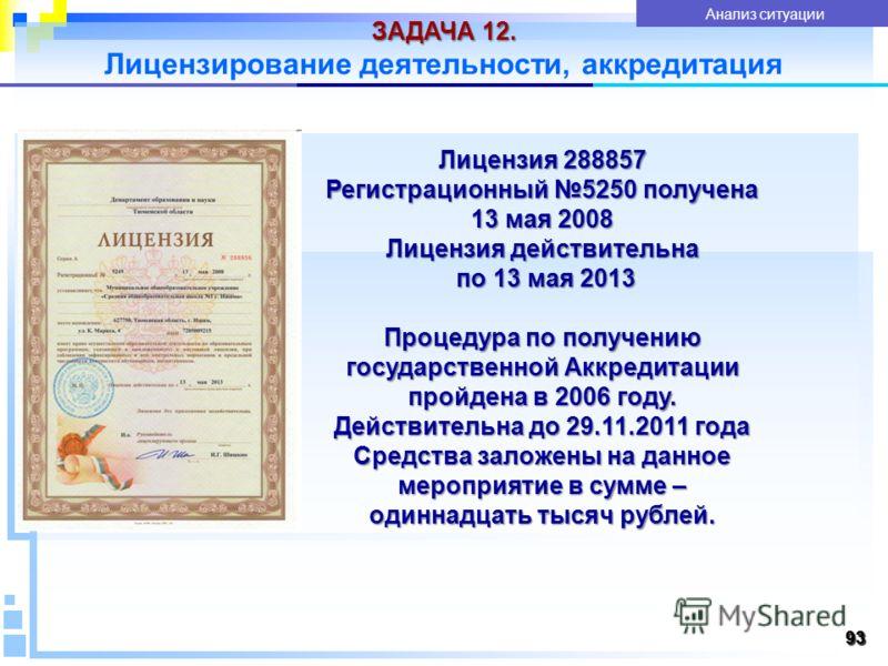 9393 ЗАДАЧА 12. Лицензирование деятельности, аккредитация 93 Показатели качества услуги Анализ ситуации Лицензия 288857 Регистрационный 5250 получена 13 мая 2008 Лицензия действительна по 13 мая 2013 по 13 мая 2013 Процедура по получению государствен