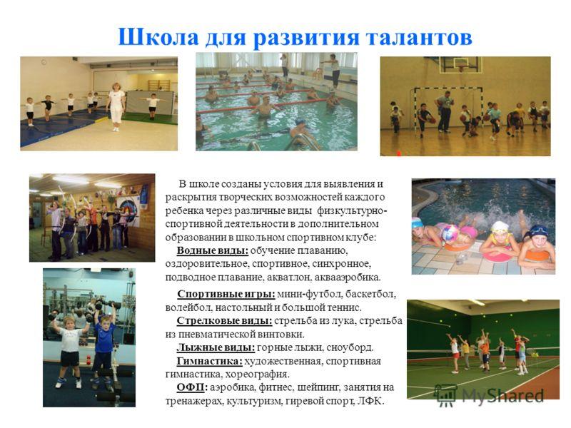 Школа для развития талантов В школе созданы условия для выявления и раскрытия творческих возможностей каждого ребенка через различные виды физкультурно- спортивной деятельности в дополнительном образовании в школьном спортивном клубе: Водные виды: об
