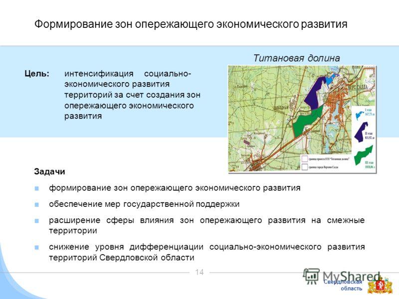 Свердловская область 14 Формирование зон опережающего экономического развития Задачи формирование зон опережающего экономического развития обеспечение мер государственной поддержки расширение сферы влияния зон опережающего развития на смежные террито