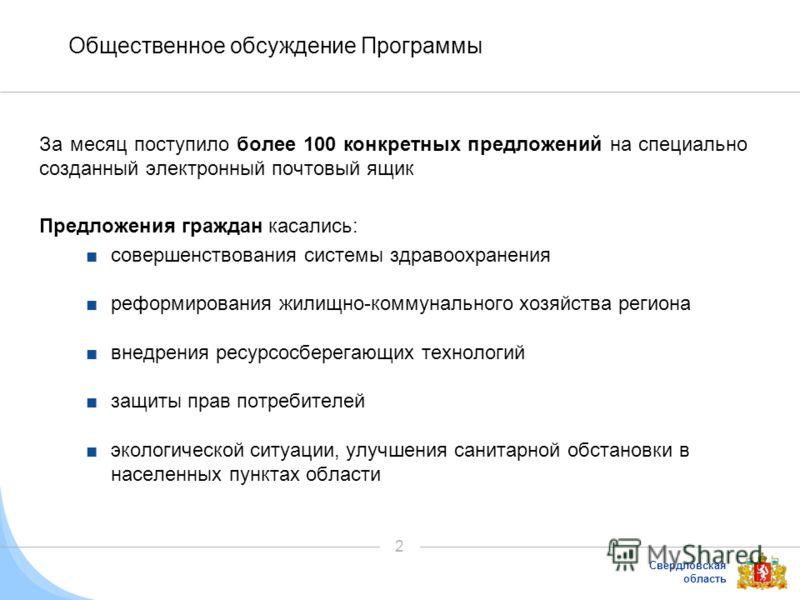 Свердловская область 2 Общественное обсуждение Программы За месяц поступило более 100 конкретных предложений на специально созданный электронный почтовый ящик Предложения граждан касались: совершенствования системы здравоохранения реформирования жили