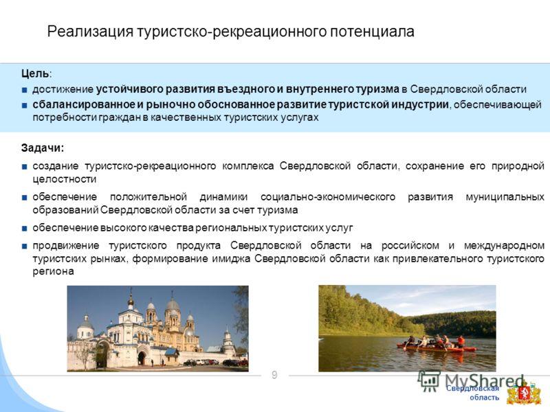 Свердловская область 9 Реализация туристско-рекреационного потенциала Цель: достижение устойчивого развития въездного и внутреннего туризма в Свердловской области сбалансированное и рыночно обоснованное развитие туристской индустрии, обеспечивающей п