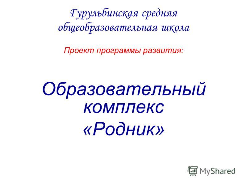 Гурульбинская средняя общеобразовательная школа Проект программы развития: Образовательный комплекс «Родник»