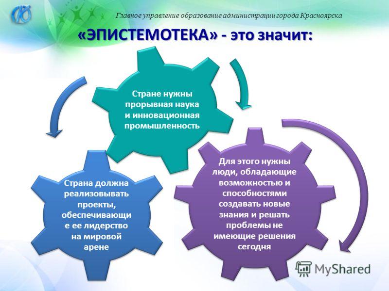 Главное управление образование администрации города Красноярска «ЭПИСТЕМОТЕКА» - это значит: Для этого нужны люди, обладающие возможностью и способностями создавать новые знания и решать проблемы не имеющие решения сегодня Страна должна реализовывать