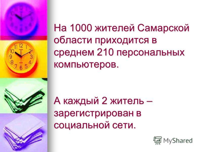 На 1000 жителей Самарской области приходится в среднем 210 персональных компьютеров. А каждый 2 житель – зарегистрирован в социальной сети.