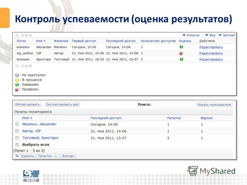 Контроль успеваемости (оценка результатов)