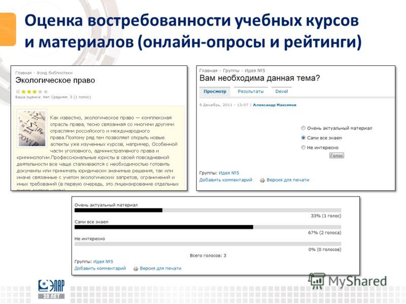 Оценка востребованности учебных курсов и материалов (онлайн-опросы и рейтинги)