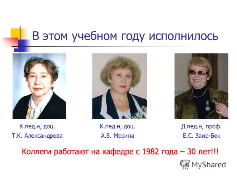 В этом учебном году исполнилось К.пед.н, доц. Т.К. Александрова К.пед.н, доц. А.В. Мосина Д.пед.н, проф. Е.С. Заир-Бек Коллеги работают на кафедре с 1982 года – 30 лет!!!