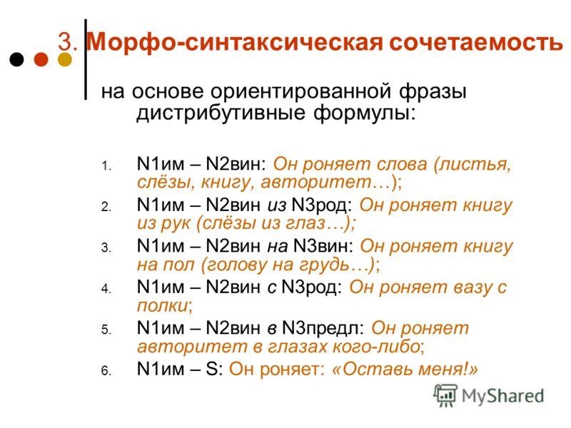 3. Морфо-синтаксическая сочетаемость на основе ориентированной фразы дистрибутивные формулы: 1. N1им – N2вин:Он роняет слова (листья, слёзы, книгу, авторитет…); 2. N1им – N2вин из N3род: Он роняет книгу из рук (слёзы из глаз…); 3. N1им – N2вин на N3в
