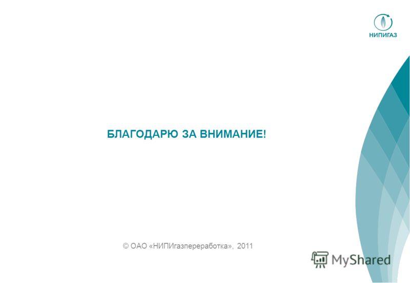 © ОАО «НИПИгазпереработка», 2011 БЛАГОДАРЮ ЗА ВНИМАНИЕ!