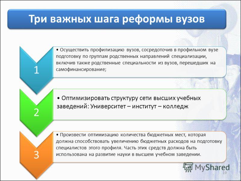 Три важных шага реформы вузов 1 Осуществить профилизацию вузов, сосредоточив в профильном вузе подготовку по группам родственных направлений специализации, включив также родственные специальности из вузов, перешедших на самофинансирование; 2 Оптимизи