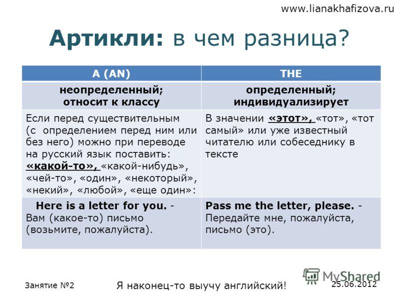 www.lianakhafizova.ru Занятие 2 Я наконец-то выучу английский! 25.06.2012 Артикли: в чем разница? A (AN)THE неопределенный; относит к классу определенный; индивидуализирует Если перед существительным (с определением перед ним или без него) можно при