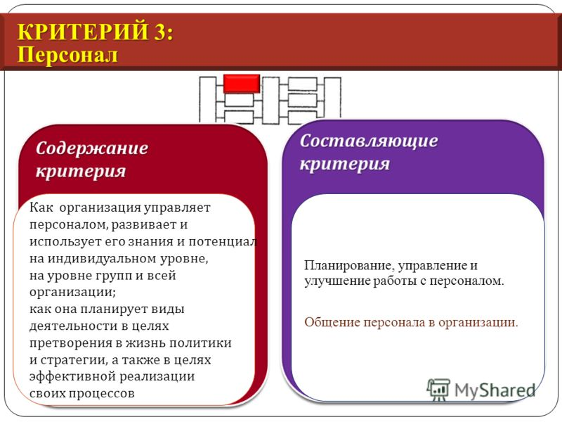 КРИТЕРИЙ 3: Персонал Как организация управляет персоналом, развивает и использует его знания и потенциал на индивидуальном уровне, на уровне групп и всей организации ; как она планирует виды деятельности в целях претворения в жизнь политики и стратег