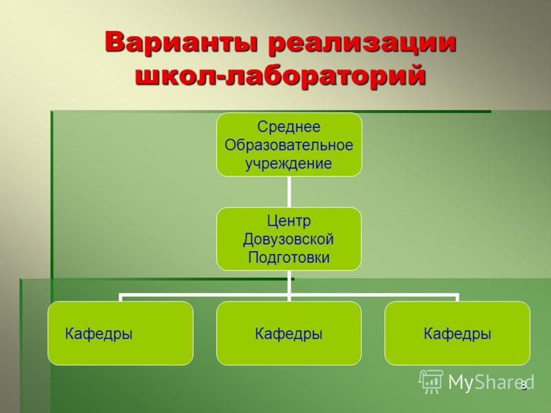 8 Варианты реализации школ-лабораторий Среднее Образовательное учреждение Центр Довузовской Подготовки Кафедры