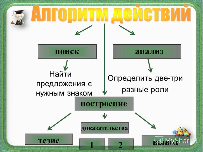 Найти предложения с нужным знаком Определить две-три разные роли поиск анализ построение тезис доказательства вывод 12