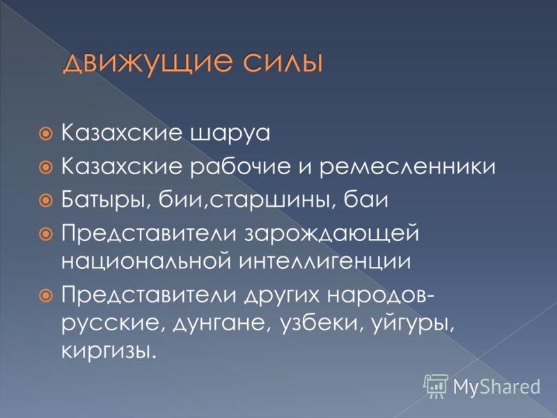 Казахские шаруа Казахские рабочие и ремесленники Батыры, бии,старшины, баи Представители зарождающей национальной интеллигенции Представители других народов- русские, дунгане, узбеки, уйгуры, киргизы.