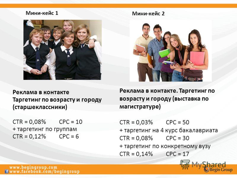 Реклама в контакте Таргетинг по возрасту и городу (старшеклассники) CTR = 0,08%CPC = 10 + таргетинг по группам CTR = 0,12%CPC = 6 Реклама в контакте. Таргетинг по возрасту и городу (выставка по магистратуре) CTR = 0,03%CPC = 50 + таргетинг на 4 курс