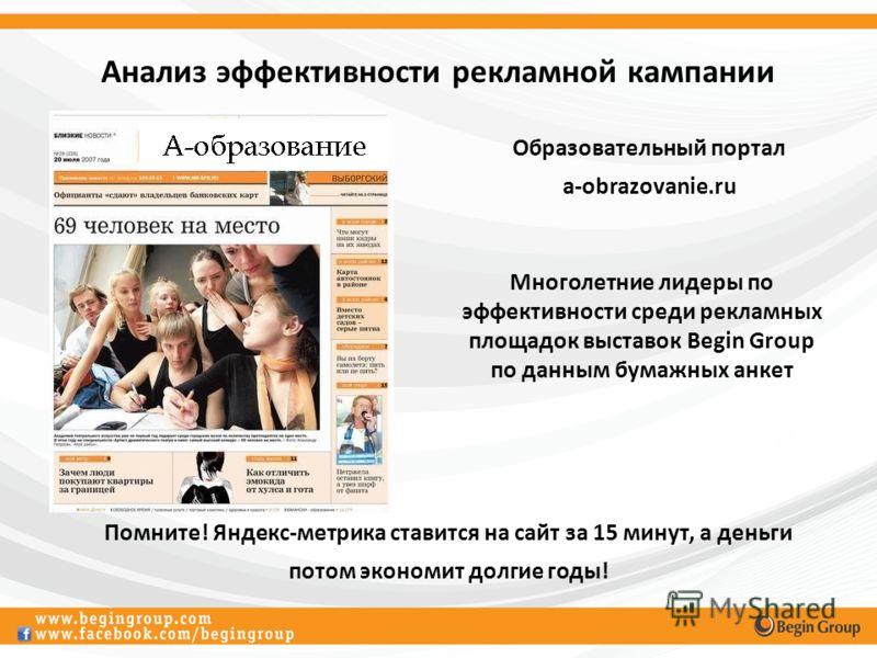 Анализ эффективности рекламной кампании Образовательный портал a-obrazovanie.ru Многолетние лидеры по эффективности среди рекламных площадок выставок Begin Group по данным бумажных анкет Помните! Яндекс-метрика ставится на сайт за 15 минут, а деньги