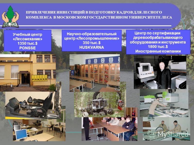 ПРИВЛЕЧЕНИЕ ИНВЕСТИЦИЙ В ПОДГОТОВКУ КАДРОВ ДЛЯ ЛЕСНОГО КОМПЛЕКСА В МОСКОВСКОМ ГОСУДАРСТВЕННОМ УНИВЕРСИТЕТЕ ЛЕСА Учебный центр «Лесомеханик» 1350 тыс.$ PONSSE Научно-образовательный центр «Лесопромышленник» 350 тыс.$ HUSKVARNA Центр по сертификации де