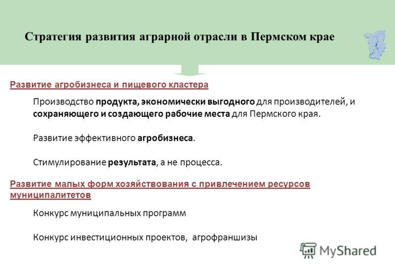 Стратегия развития аграрной отрасли в Пермском крае Производство продукта, экономически выгодного для производителей, и сохраняющего и создающего рабочие места для Пермского края. Развитие эффективного агробизнеса. Стимулирование результата, а не про