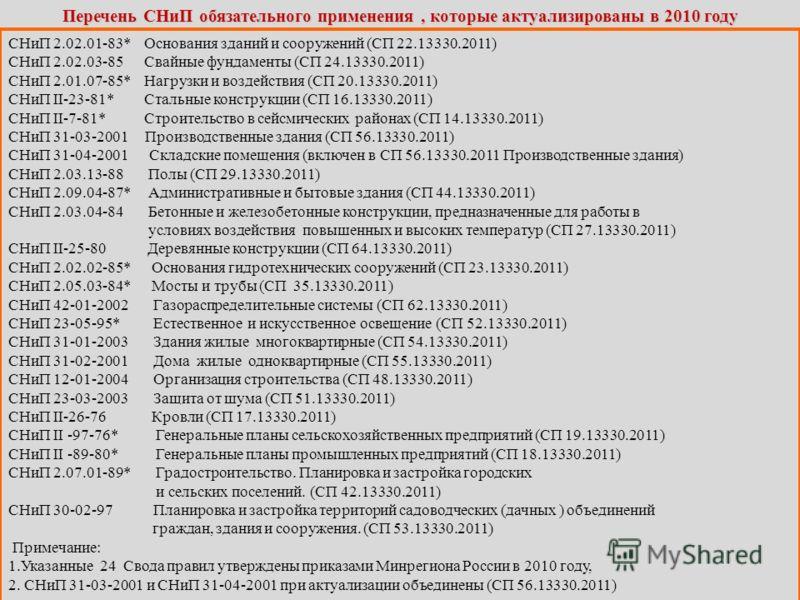 Перечень СНиП обязательного применения, которые актуализированы в 2010 году СНиП 2.02.01-83* Основания зданий и сооружений (СП 22.13330.2011) СНиП 2.02.03-85 Свайные фундаменты (СП 24.13330.2011) СНиП 2.01.07-85* Нагрузки и воздействия (СП 20.13330.2