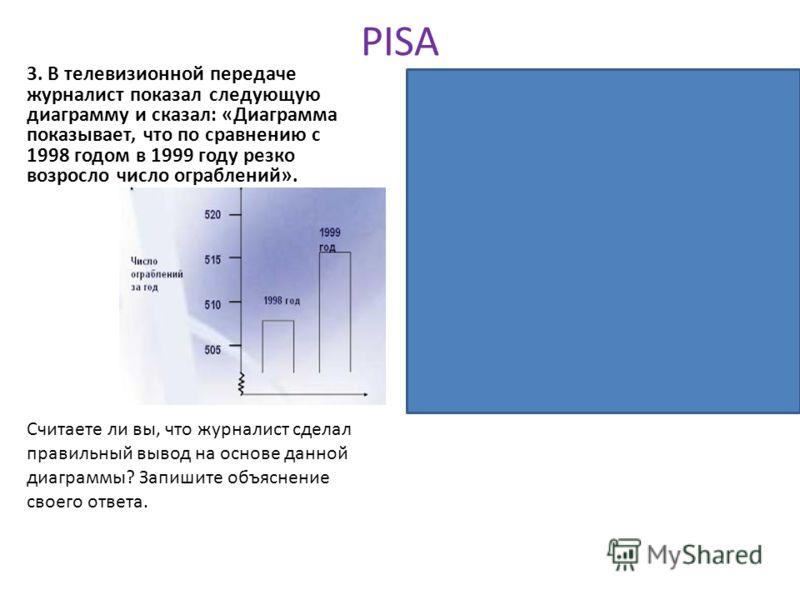 PISA 3. В телевизионной передаче журналист показал следующую диаграмму и сказал: «Диаграмма показывает, что по сравнению с 1998 годом в 1999 году резко возросло число ограблений». Комментарий: Диаграмма является ярким примером манипуляции общественны