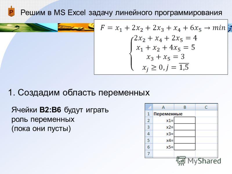 Решим в MS Excel задачу линейного программирования 1. Создадим область переменных Ячейки В2:В6 будут играть роль переменных (пока они пусты)