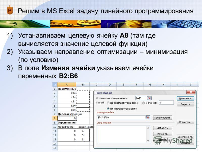 Решим в MS Excel задачу линейного программирования 1)Устанавливаем целевую ячейку А8 (там где вычисляется значение целевой функции) 2)Указываем направление оптимизации – минимизация (по условию) 3)В поле Изменяя ячейки указываем ячейки переменных В2: