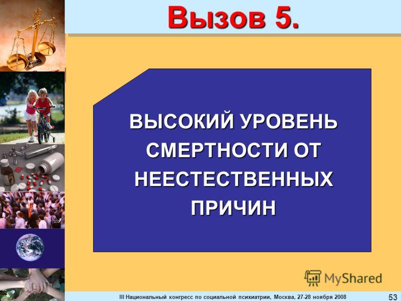 III Национальный конгресс по социальной психиатрии, Москва, 27-28 ноября 2008 53 Вызов 5. ВЫСОКИЙ УРОВЕНЬ СМЕРТНОСТИ ОТ НЕЕСТЕСТВЕННЫХПРИЧИН