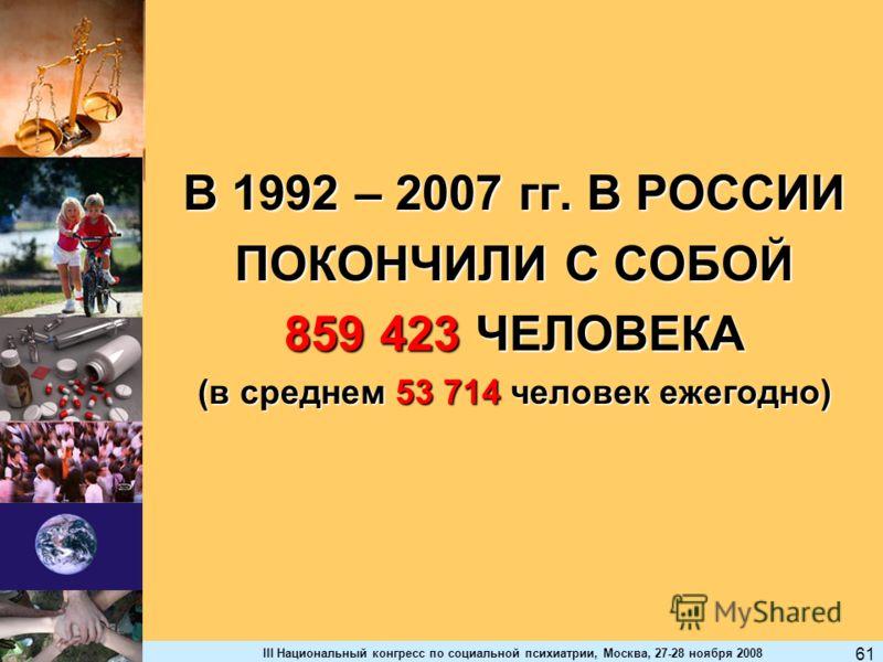 III Национальный конгресс по социальной психиатрии, Москва, 27-28 ноября 2008 61 В 1992 – 2007 гг. В РОССИИ ПОКОНЧИЛИ С СОБОЙ 859 423 ЧЕЛОВЕКА (в среднем 53 714 человек ежегодно)
