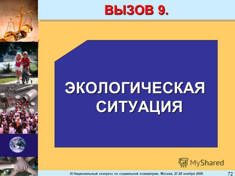 III Национальный конгресс по социальной психиатрии, Москва, 27-28 ноября 2008 72 ВЫЗОВ 9. ЭКОЛОГИЧЕСКАЯ СИТУАЦИЯ