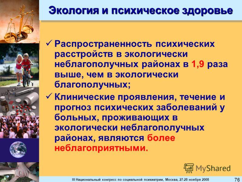 III Национальный конгресс по социальной психиатрии, Москва, 27-28 ноября 2008 76 Экология и психическое здоровье Распространенность психических расстройств в экологически неблагополучных районах в 1,9 раза выше, чем в экологически благополучных; Клин