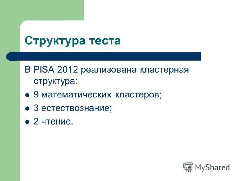 Структура теста В PISA 2012 реализована кластерная структура: 9 математических кластеров; 3 естествознание; 2 чтение.