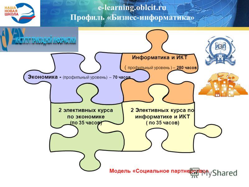 e-learning.oblcit.ru Профиль «Бизнес-информатика» Экономика - (профильный уровень) – 70 часов Информатика и ИКТ ( профильный уровень ) – 280 часов 2 Элективных курса по информатике и ИКТ ( по 35 часов) 2 элективных курса по экономике (по 35 часов) Мо