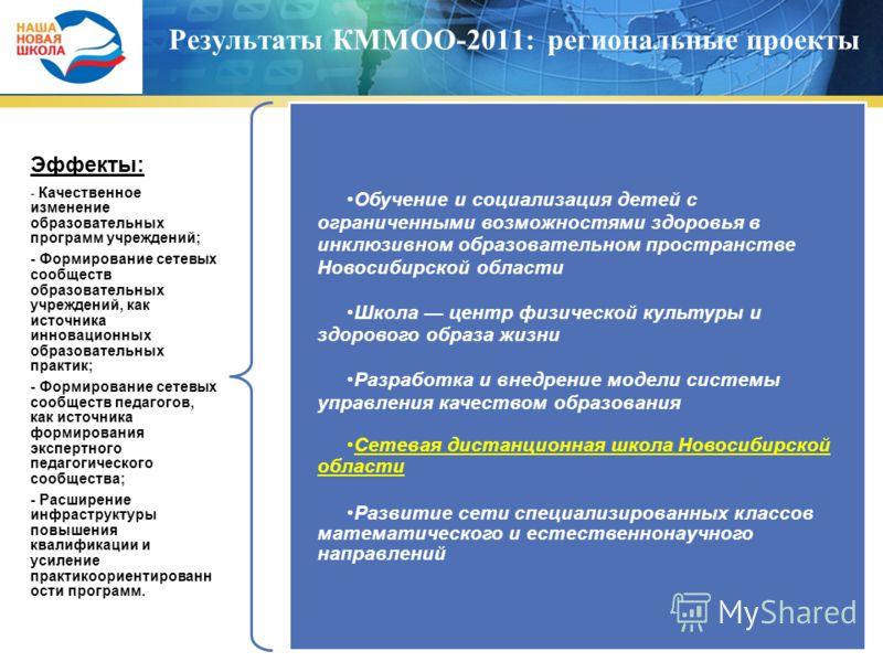 Результаты КММОО-2011: региональные проекты Эффекты: - Качественное изменение образовательных программ учреждений; - Формирование сетевых сообществ образовательных учреждений, как источника инновационных образовательных практик; - Формирование сетевы
