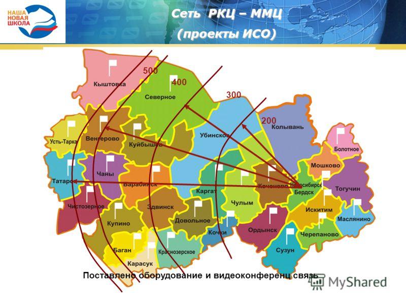 Сеть РКЦ – ММЦ (проекты ИСО) 200 300 400 500 Поставлено оборудование и видеоконференц связь