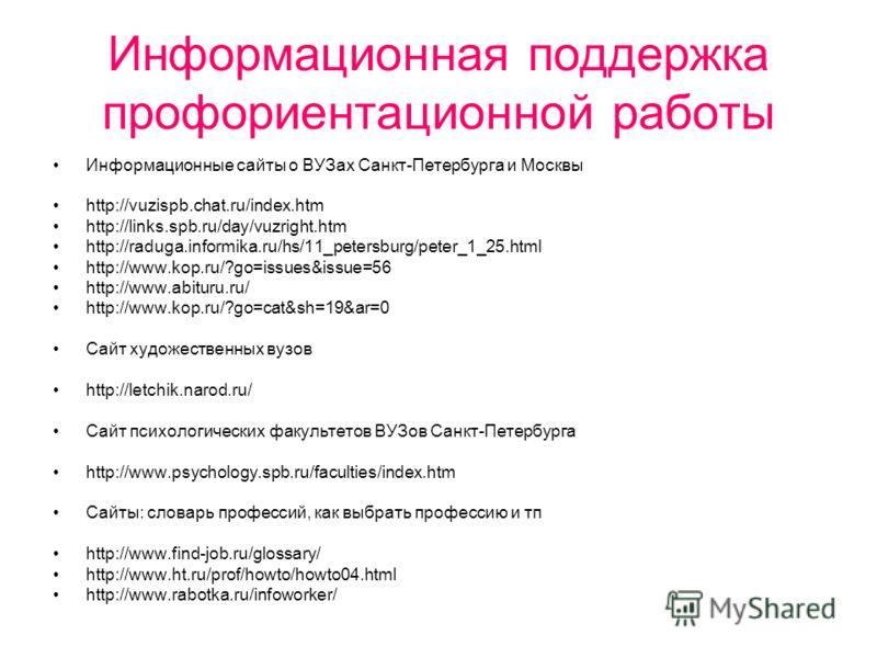 Информационная поддержка профориентационной работы Информационные сайты о ВУЗах Санкт-Петербурга и Москвы http://vuzispb.chat.ru/index.htm http://links.spb.ru/day/vuzright.htm http://raduga.informika.ru/hs/11_petersburg/peter_1_25.html http://www.kop