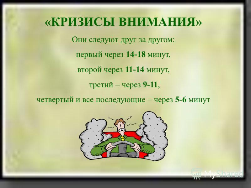 «КРИЗИСЫ ВНИМАНИЯ» Они следуют друг за другом: первый через 14-18 минут, второй через 11-14 минут, третий – через 9-11, четвертый и все последующие – через 5-6 минут