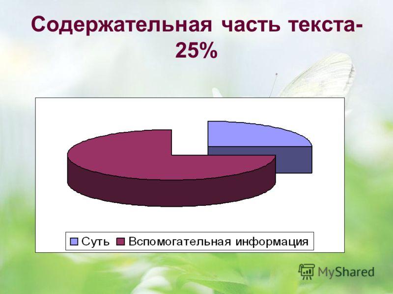 Содержательная часть текста- 25%