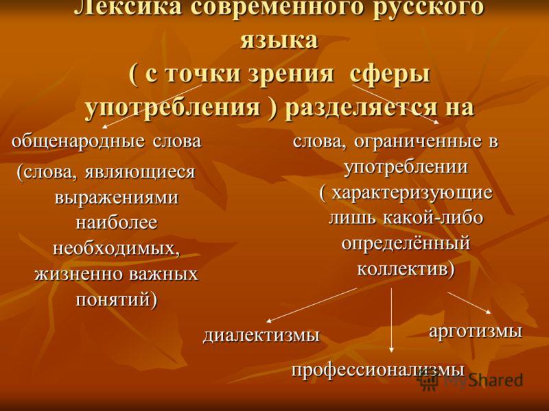 Лексика современного русского языка ( с точки зрения сферы употребления ) разделяется на общенародные слова (слова, являющиеся выражениями наиболее необходимых, жизненно важных понятий) слова, ограниченные в употреблении ( характеризующие лишь какой-