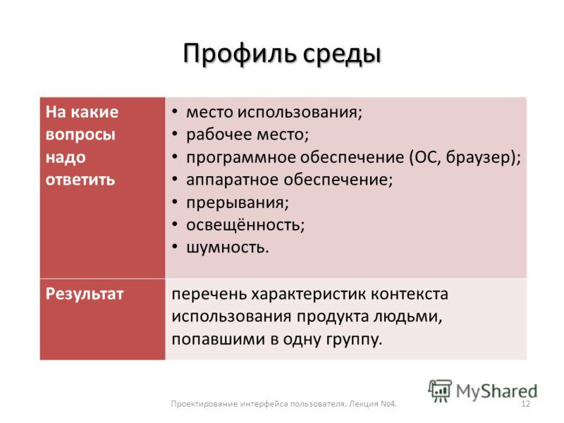 Профиль среды Проектирование интерфейса пользователя. Лекция 4.12 На какие вопросы надо ответить место использования; рабочее место; программное обеспечение (ОС, браузер); аппаратное обеспечение; прерывания; освещённость; шумность. Результатперечень
